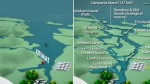 The Douglas Channel as seen in an Enbridge ad, left, and a comparison image created by graphic designer Lori Waters. (Facebook)