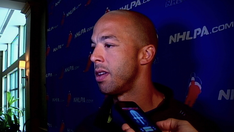 Canucks centre Manny Malhotra speaks to reporters on August 21, 2012. (CTV)