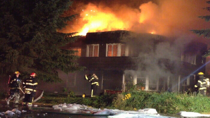 Several people are homeless after a fire in Maple Ridge consumed two houses on August 23, 2012. (CTV)