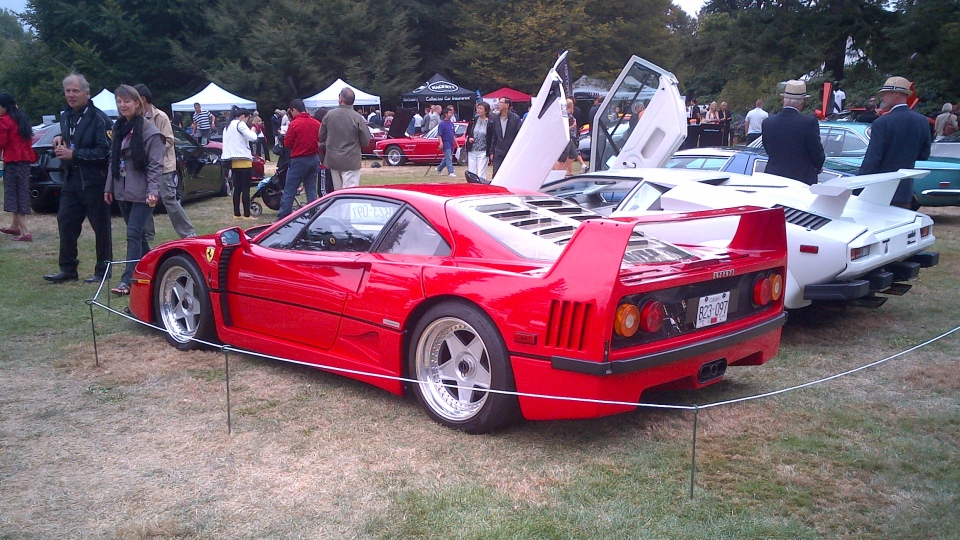 The Ferrari F40 before it crashed displayed at the Luxury and Supercar Weekend in Vancouver on Sunday, Sept. 9, 2012. (CTV)