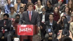Liberal party candidate Justin Trudeau continues his tour of Western Canada with a stop in Richmond, B.C., where he announced he did not support the Northern Gateway pipeline. Oct. 3, 2012. (CTV)